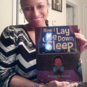 Woman working to overcome the stigma of mental health by reading Now I Lay Me Down to Sleep.